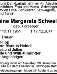 Todesanzeige Hermine Schweizer 2014